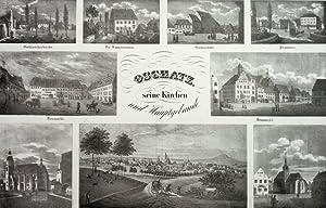 """Oschatz. - Souvenirblatt. - Sachsens Kirchen-Galerie. - """"Oschatz, seine Kirchen und Hauptgeb&..."""