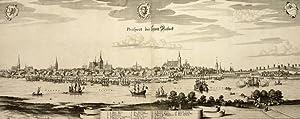 """Rostock. - Gesamtansicht. - """"Prospect der Statt Rostock""""."""