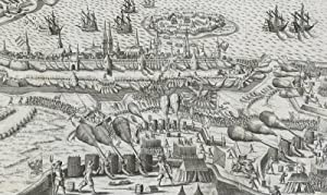 """Stralsund. - Gesamtansicht mit Belagerung. - anonym. - """"Abriss der Stadt Stralsund""""."""