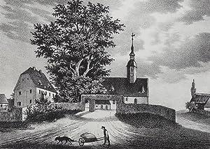 """Bauda (Großenhain). - Teilansicht mit Pfarrkirche. - Sachsens Kirchen-Galerie. - """"Bauda&..."""