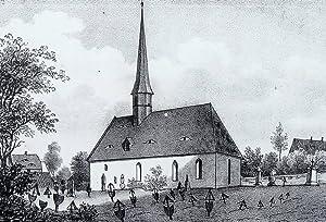 Langebrück (Dresden). - Teilansicht mit Pfarrkirche und Friedhof. - Sachsens Kirchen-Galerie. ...