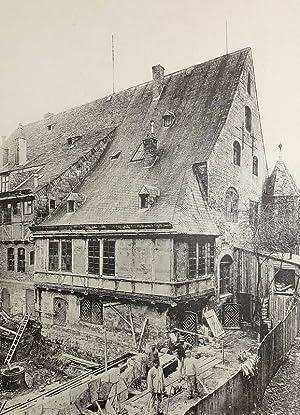 """Quedlinburg. - """"Quedlinburg. Rathaus, Hofseite vor dem Umbau 16. Jahrh.""""."""