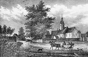 """Walda (Großenhain). - Teilansicht mit Pfarrkirche. - Sachsens Kirchen-Galerie. - """"Walda&..."""