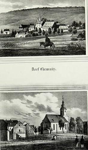 Dorfchemnitz / Hundshübel (Stützengrün). - 2 Ansichten mit Pfarrkirchen. - ...