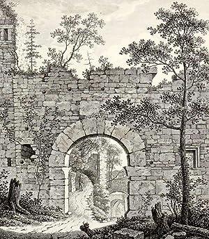 """Baden-Baden. - Teilansicht der Burgruine Hohenbaden. - """"Eingang der alten Burg Baden gegen ..."""