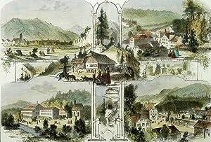 """Schwarzwald. - Mehransichtenblatt. - """"Die Schwarzwaldbäder Wolfach, Rippoldsau, Griesbach..."""