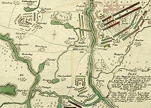 """Frankfurt (Oder). - Schlachtplan. - """"Plan der Bataille bey Frankfurth an der Oder""""."""