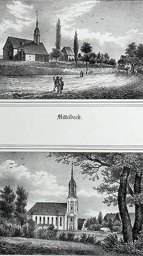 Mittelbach / Reichenbrand (Chemnitz). - 2 Ansichten mit Pfarrkirchen. - Sachsens ...