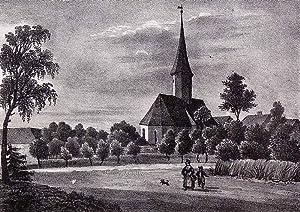 """Niederschindmaas (Dennheritz). - Teilansicht mit Pfarrkirche. - Sachsens Kirchen-Galerie. - """"..."""