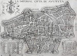 """Augsburg. - Karte. - Zaltieri in Venedig. - """"La imperial Citta di Augusta""""."""