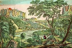 """Königstein (Sächsische Schweiz). - Panoramaansicht. - Guckkastenblatt. - """"..."""