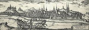 """Quedlinburg. - Gesamtansicht. - """"Quedelinburga"""".: Georg Braun"""