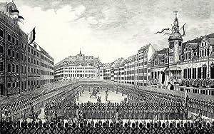 """Leipzig. - Marktansicht. - """"Vereidung des Militairs auf die Verfassung""""."""