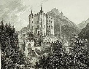 """Hohenschwangau. - Gesamansicht des Schlosses. - """"Hohenschwangau in Bayern""""."""