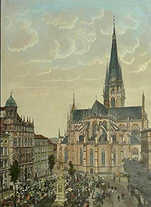 """Wesel. - Teilansicht. - """"Die Willibrordikirche in Wesel vom Marktplatz aus""""."""