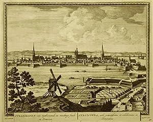 """Stralsund. - Gesamtansicht. - Peter Schenk. - """"Straelzondt, een wytberoemde en machtige Stadt ..."""