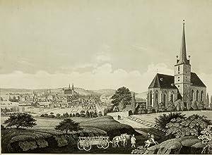 """Schleiz. - Gesamtansicht. - """"Die Stadt Schleitz vor dem Brande am 3. Juli 1837""""."""