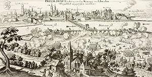 """Ingolstadt. - Gesamtansicht mit Belagerung. - """"Ingolstatt so Ao 1632 von dem Könige aus ..."""