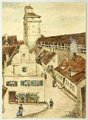 """Nördlingen. - Stadtmauer. - """"Stadtmauer in Nördlingen""""."""