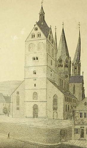 """Gelnhausen. - Marienkirche. - """"Ansicht der Pfarrkirche zu Gelnhausen""""."""