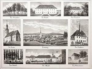 """Radeburg. - Mehransichtenblatt. - """"Radeburg und seine Hauptgebäude""""."""