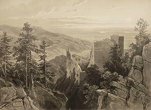 """Baden-Baden. - Ruinenansicht. - """"Vue generale du Vieux Château""""."""