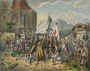 """Richter, Adrian Ludwig. - """"Auszug der Tyroler""""."""