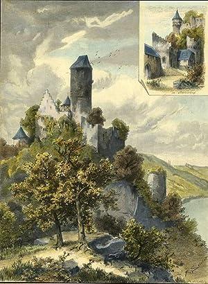 Neckarzimmern. - Zwei Ansicht der Burg Hornberg.