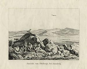 """Richter, Adrian Ludwig. - """"Aussicht vom Pöhlberge bei Annaberg""""."""