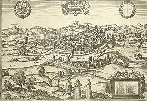 """Schwäbisch Hall . - Vogelschau. - Janssonius. - """"Hala, ad Cocharum flumen in Suevia ..."""