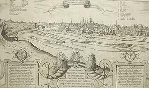 """München. - Gesamtansicht. - Janssonius. - """"Monachium utriusque bavariae civitas primar&..."""