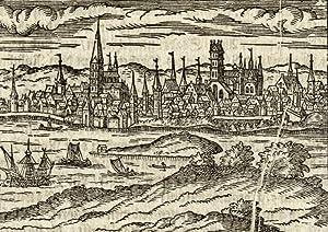 """Rostock. - Gesamtansicht. - """"Die Stadt Rostock""""."""