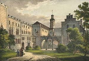 """Hartenstein. - Ansicht des Schlosshofes. - Saxonia. - """"Innere Ansicht des Schlosses ..."""