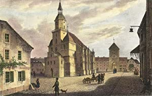 """Rochlitz. - Kirchenansicht. - Saxonia. - """"Die Kunigunden-Kirche in Rochlitz""""."""