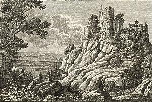 """Frauenstein. - Ansicht der Burgruine. - """"Die Ruine von Frauenstein im Königreich Sachsen&..."""