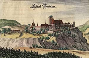 """Burg Schlossböckelheim. - Burg Böckelheim. - Merian. - """"Schloss Beckelum"""".: ..."""