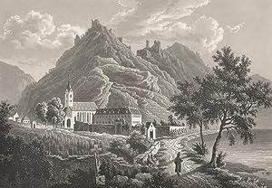 """Kamp-Bornhofen. - Ansichten der Burgen Liebenstein und Sterrenberg. - """"Liebenstein und ..."""