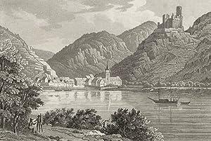 """Wellmich (Sankt Goarshausen). - Ansicht der Burg Maus. - """"Welmich und die Ruine Thurnberg ..."""