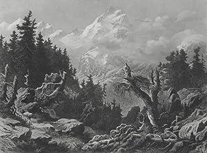 Piz Bernina und Oberengadin. - Bergansicht. -