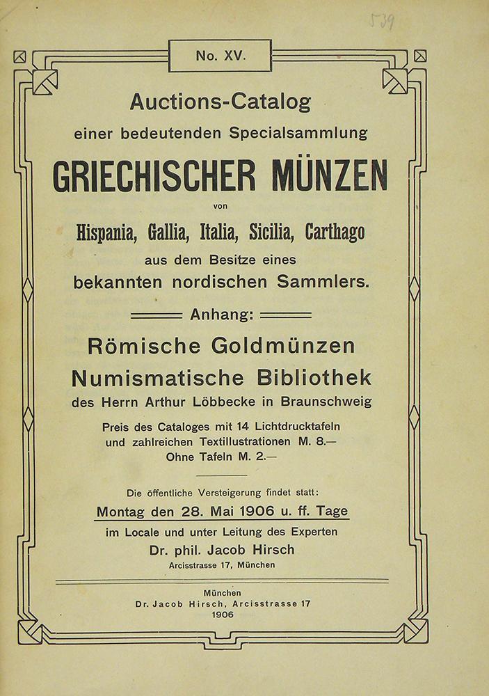 Auctions Catalog Einer Bedeutenden Specialsammlung Griechischer
