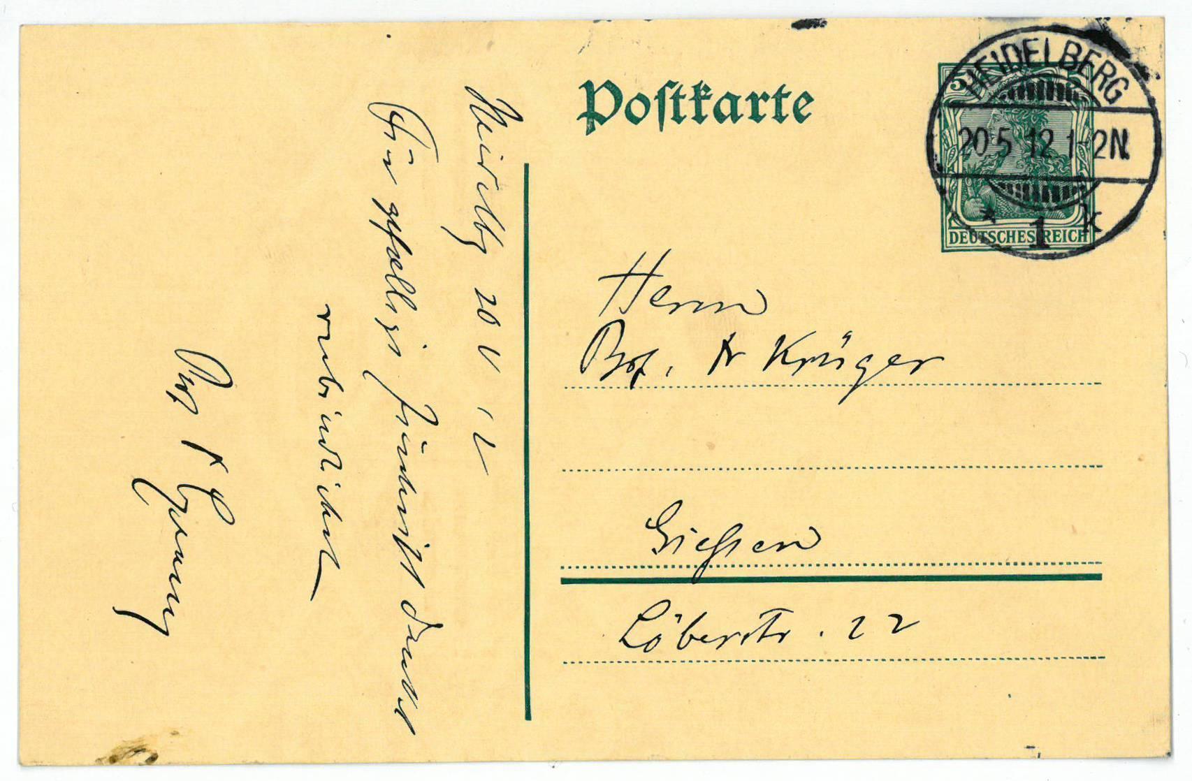 Eigenh. Postkarte mit U.: Czerny, Vinzenz von,
