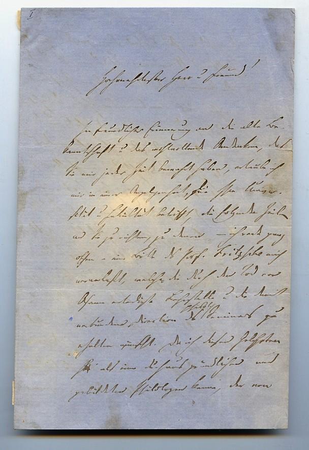 """Eigenh. Brief mit U. ( Chr. Baehr"""").: Baehr, Johann Christian"""