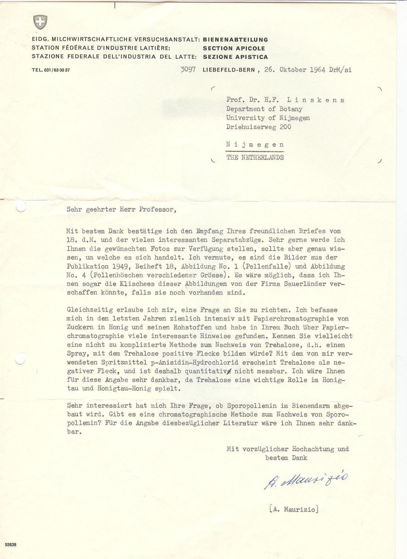 "Ms. Brief mit eigenh. U. (""A. Maurizio"")."
