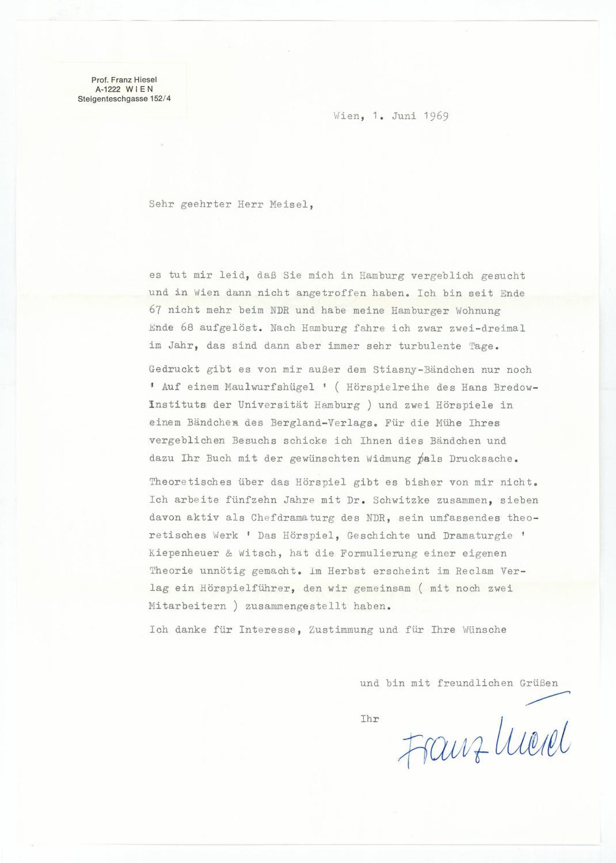 Brief Mit Eigenh Von Franz Zvab