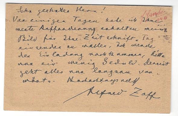 Eigenh. Postkarte mit U.: Zoff, Alfred, Maler