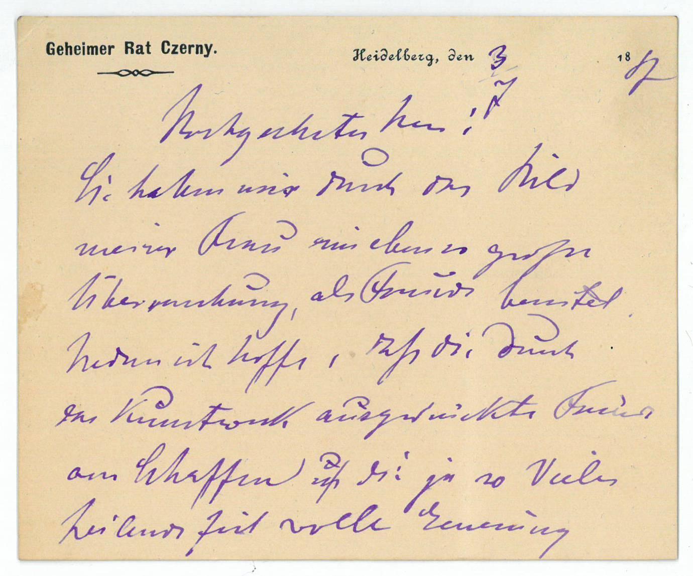 """Eigenh. Briefkarte mit U. (""""Dr. Czerny"""").: Czerny, Vinzenz von,"""
