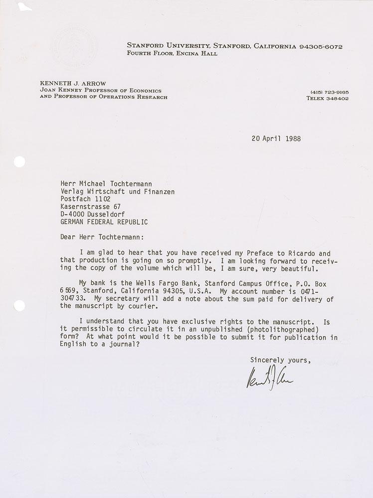 4 Ms Briefe Mit Eigenh U Von Arrow Kenneth Joseph ökonom Und