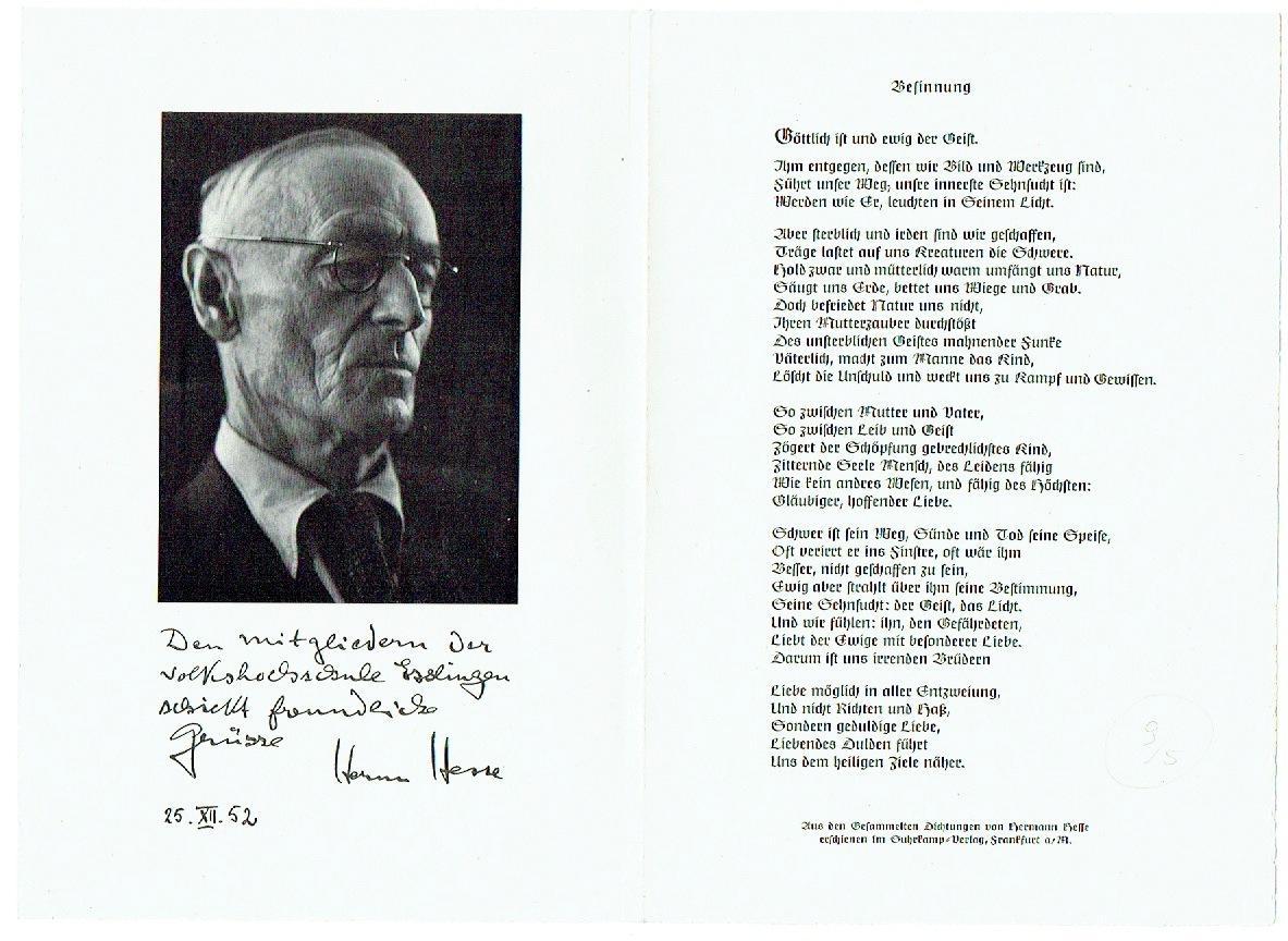 4 eigenhändige Karten mit Unterschrift.: Hesse, Hermann, Schriftsteller