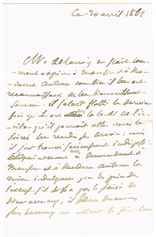 2 autograph letters signed (third person).: Delacroix, Eugène, peintre