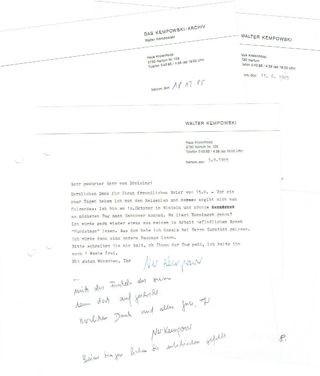 5 Briefe (davon 4 ms., 1 eigenh.): Kempowski, Walter, Schriftsteller